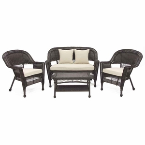 4 Piece Espresso Wicker Conversation Set Beige Cushions Brand Zest