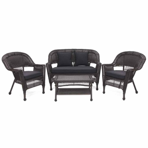 4 Piece Espresso Wicker Conversation Set Black Cushions Brand Zest