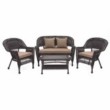 4 Piece Espresso Wicker Conversation Set Cocoa Brown Cushions Brand Zest