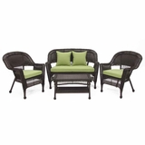 4 Piece Espresso Wicker Conversation Set Green Cushions Brand Zest