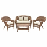 4 Piece Honey Wicker Conversation Set Beige Cushions with Tray Brand Zest