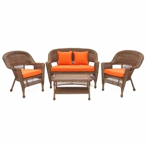 4 Piece Honey Wicker Conversation Set Brick Orange Cushions Brand Zest