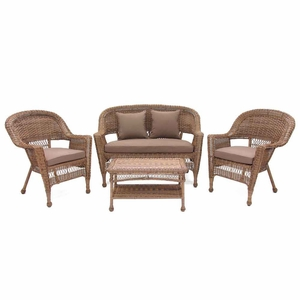 4 Piece Honey Wicker Conversation Set Cocoa Brown Cushions Brand Zest