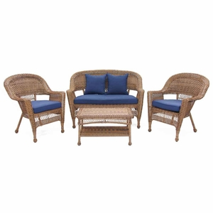 4 Piece Honey Wicker Conversation Set Navy Blue Cushions Brand Zest