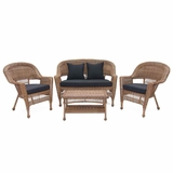 4 Piece Honey Wicker Imported Conversation Set Black Cushions Brand Zest