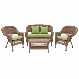 4 Piece Honey Wicker Imported Conversation Set Green Cushions Brand Zest