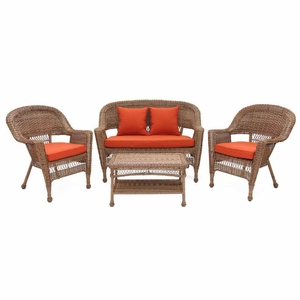 4 Piece Honey Wicker Imported Conversation Set Red Cushions Brand Zest