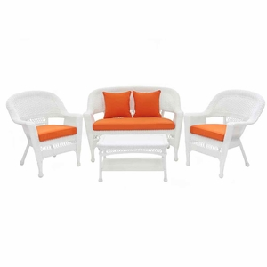 4 Piece White Wicker Conversation Set Brick Orange Cushions Brand Zest