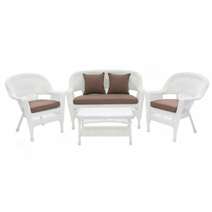 4 Piece White Wicker Conversation Set Cocoa Brown Cushions Brand Zest