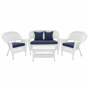 4 Piece White Wicker Conversation Set Navy Blue Cushions Brand Zest