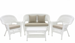 4 Piece White Wicker Imported Conversation Set Beige Cushions Brand Zest