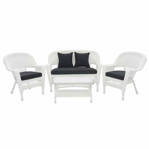 4 Piece White Wicker Imported Conversation Set Black Cushions Brand Zest