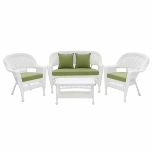 4 Piece White Wicker Imported Conversation Set Green Cushions Brand Zest