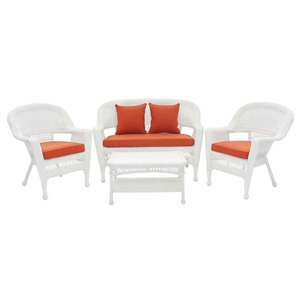 4 Piece White Wicker Imported Conversation Set Red Cushions Brand Zest