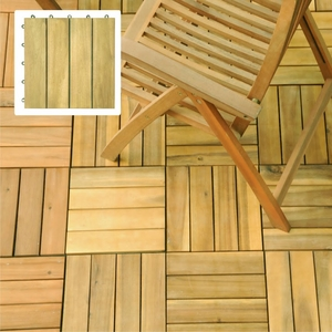4 Slat Acacia Interlocking Deck Tile (Teak Finish) by Vifah