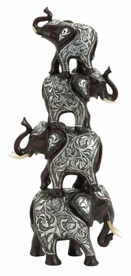 4 Trunks Up Elephants Sculpture