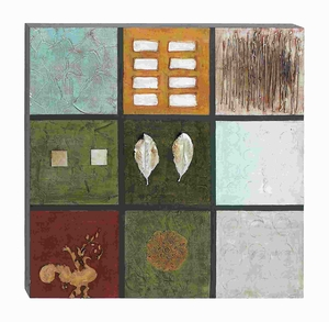 """40""""H Canvas Art with Bright Rich Colors in Square Pattern Brand Woodland"""