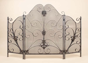 "40"" Solid Metal Venus Fire Screen Crafted with Wire Mesh Brand Woodland"