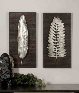 4001 Silver Leaves Set/2: Can Be Used For In Vertical Or Horizontal Style Brand Uttermost
