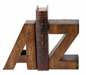 40417 Wood A To Z Bookend Pair-Natural Decor Bookshelves Brand Woodland