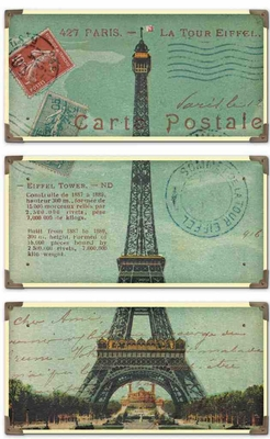 40917 Eiffel Tower Carte Postale S/3: A Meaningful Decoration Brand Uttermost