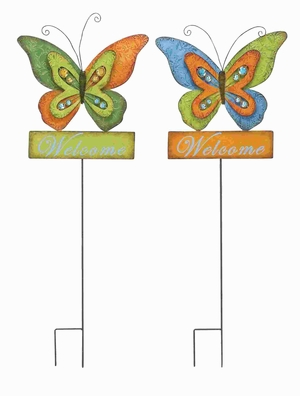 "42""H Metal Garden Stake with Butterfly Motifs (Set of 2) Brand Woodland"