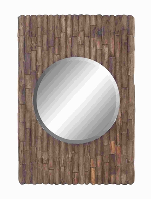 "42""H Wood Mirror Unique Circular Set in A Rectangular Pane Brand Woodland"