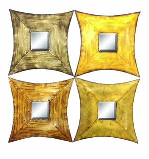 Metal Mirror Decor, 4 Assorted Colors, Set Of 4 - 42719 by Benzara