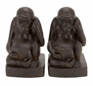 POLYSTONE MONKEY BOOKEND PAIR A KIDS CRAZE - 44659 by Benzara