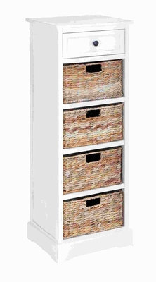 """45""""H Wood Basket Cabinet Combination of Functionality and Design Brand Woodland"""