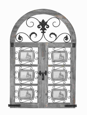 """45"""" H Wood Metal Wall Photo Frame with Door Like Pattern Brand Woodland"""