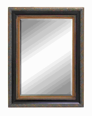 "46""H Classic Wood Beveled Mirror with Embossed Leaf Pattern Brand Woodland"