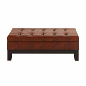 "47"" W Wood Leather Spacious Storage Bench with Timeless Design Brand Woodland"