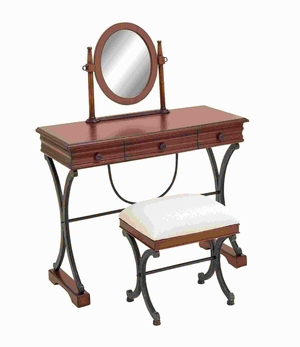 "48""H Classic Wood Mirror Vanity Set in Stylized Curved Accents Brand Woodland"