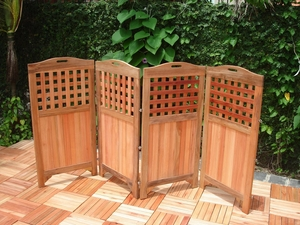 "48"" Outdoor Acacia Privacy Screen with 4 Panels by Vifah"