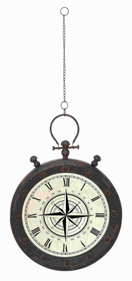 "49""H Metal Wall Clock in Roman Style Number and Trudy Design Brand Woodland"