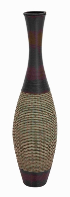 "49""H Sturdy Wood Polyresin Vase with Exquisite Jute Work Brand Woodland"
