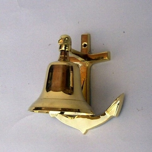 "5"" Anchor Wall Nautical Brass Ship Bell Brand IOTC"