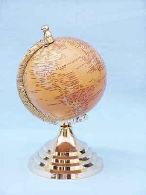 "5"" Earth Globe With Brass Arc And Base Hot Deal Brand Wild Orchid"
