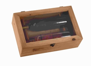 "5""H Classic Rectangular Wood Wine Box with a Metal Lock Brand Woodland"