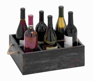 "5""H Wood Wine Tray Crafted with Six Storage Compartments Brand Woodland"