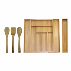 5 Piece Bamboo Expandable Drawer Utensil Organizer Set by Oceanstar