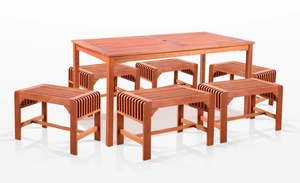 5-Piece Dining Set with Rectangular Table and Backless Benches by Vifah