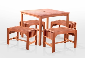 5-Piece Dining Set with Square Table and Backless Benches by Vifah