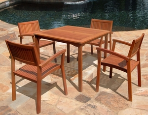 5-Piece Outdoor Eucalyptus d Dining Set by Vifah