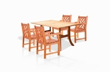 5-Piece Outdoor Eucalyptus Dining Set by Vifah