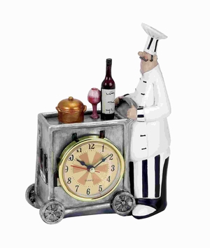 "5""W Unique Polystone Chef Wall Clock with Attractive Colors Brand Woodland"