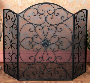 "50"" Mesh & Scroll Metal Fireplace Screen Brand Benzara"