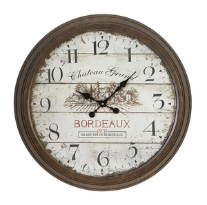 Metal Wall Clock With Dial Face Of 1971 Bordeaux Clock - 52503 by Benzara
