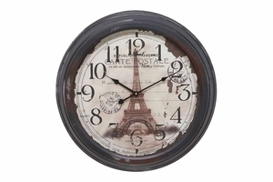 52512 Metal Wall Clock - Picture Of Eiffel Tower Makes It Great Brand Woodland